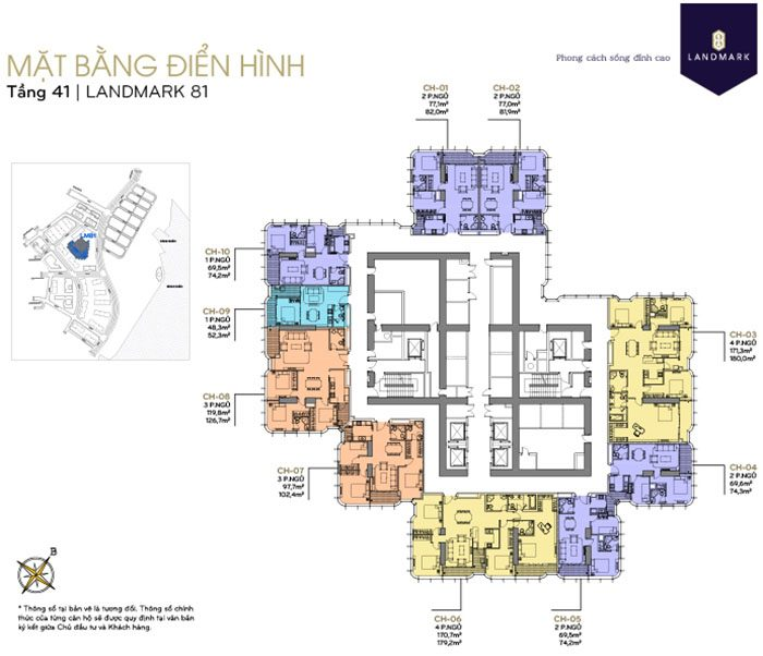 mặt bằng căn hộ Landmark 81 tầng 41