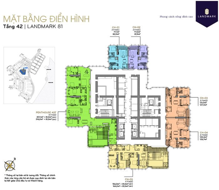 mặt bằng căn hộ Landmark 81 tầng 42