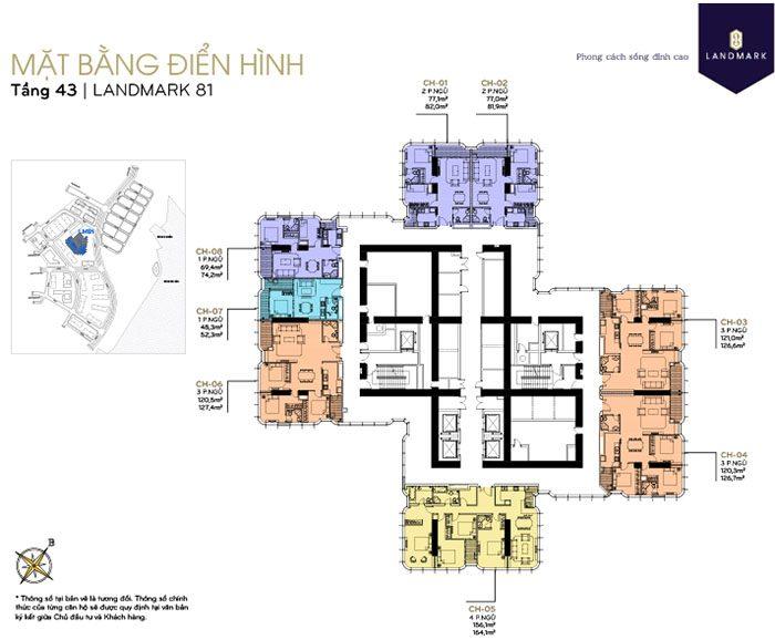 mặt bằng căn hộ Landmark 81 tầng 43