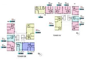 mặt bằng tòa 1B và 2B Linden Residences