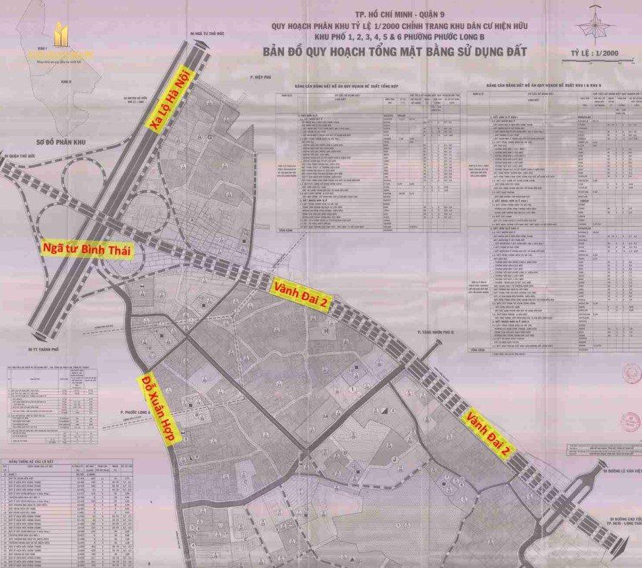 bản đồ quy hoạch đường vành đai 2 (nút giao quận 9)