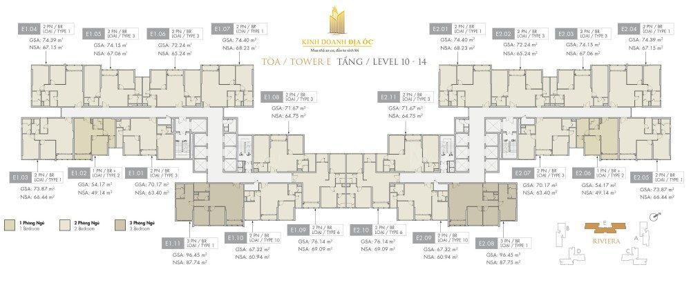 Tòa E Riviera tầng 10-14