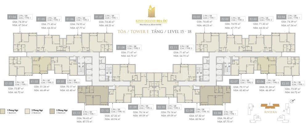 Tòa E Riviera tầng 15-18