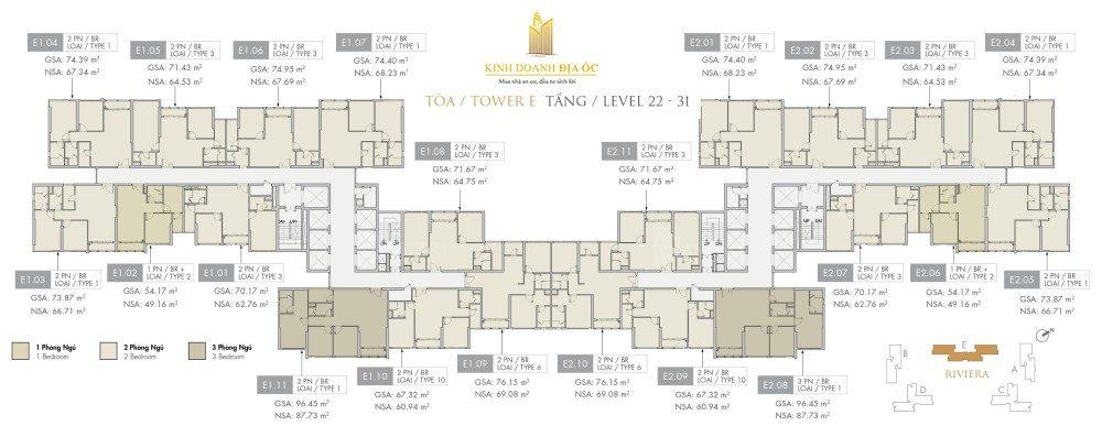Tòa E Riviera tầng 22-31