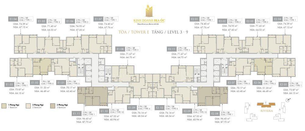 Tòa E Riviera tầng 3-9