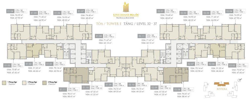 Tòa E Riviera tầng 32-37