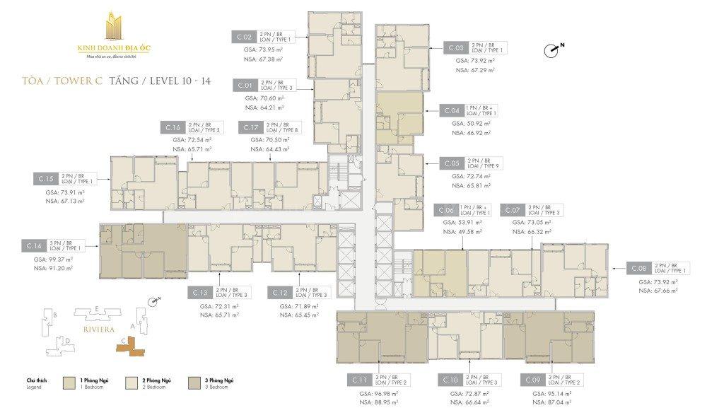 Tòa C Riviera tầng 10-14