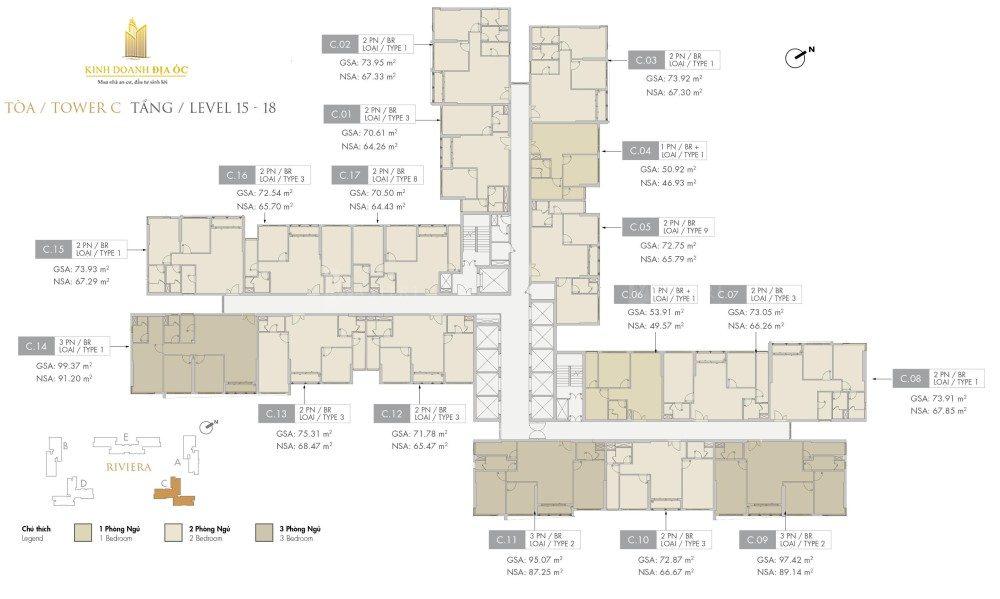 Tòa C Riviera tầng 15-18