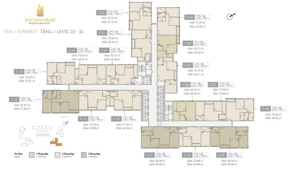 Tòa C Riviera tầng 22-32