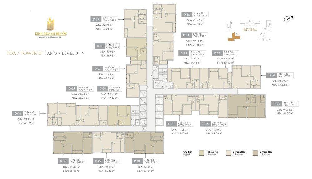 Tòa D Riviera tầng 3-9