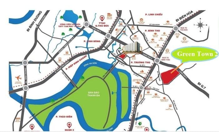 vị trí dự án green town quận 9