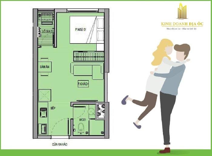 mặt bằng căn hộ 1 phòng ngủ