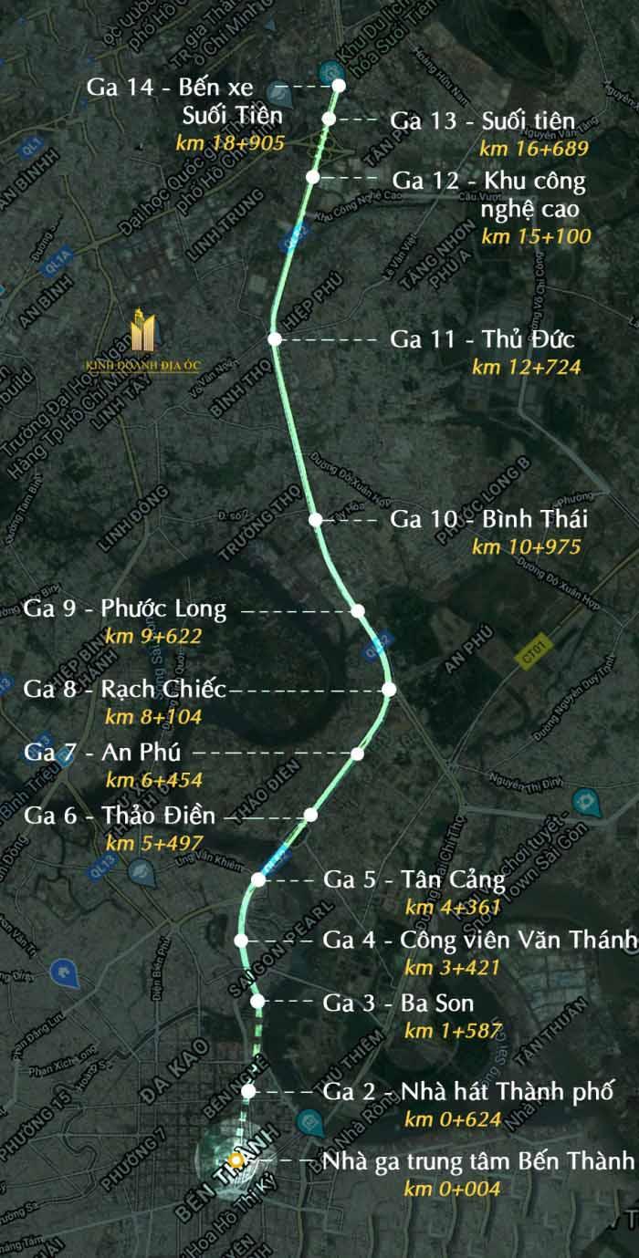 các trạm dừng tuyến metro số 1