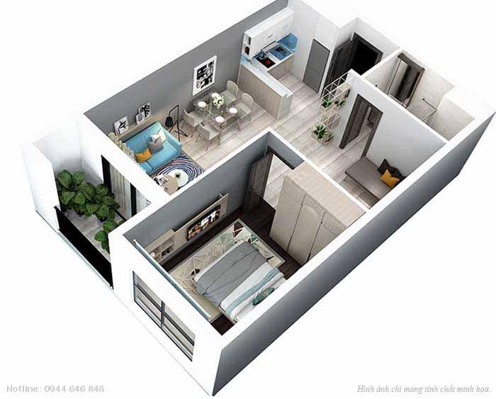 căn hộ 1 phòng ngủ +