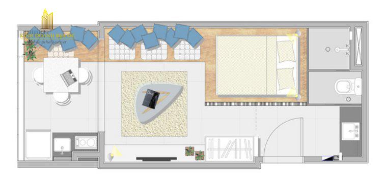 thiết kế căn hộ mặt bằng 28m2