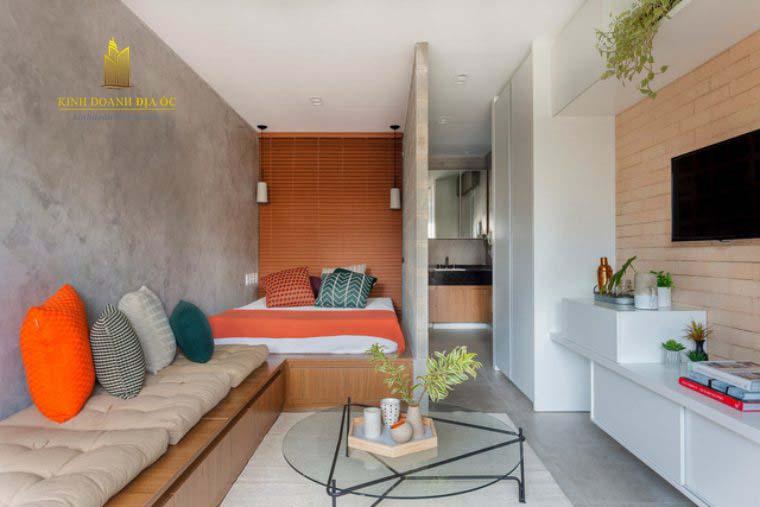 thiết kế căn hộ studio 28m2 đẹp