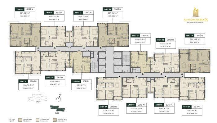 Mặt bằng tòa Lumiere East - masteri parkland q2