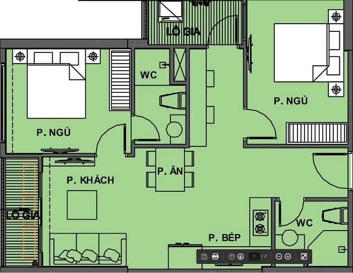 căn hộ vinhomes grand park 2 phòng ngủ 2 wc loại 2