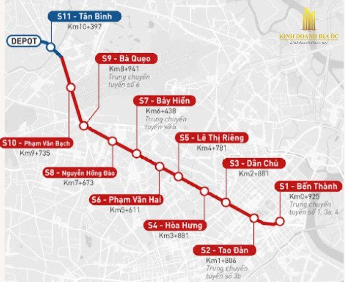sơ đồ tuyến metro số 2 bến thành tham lương