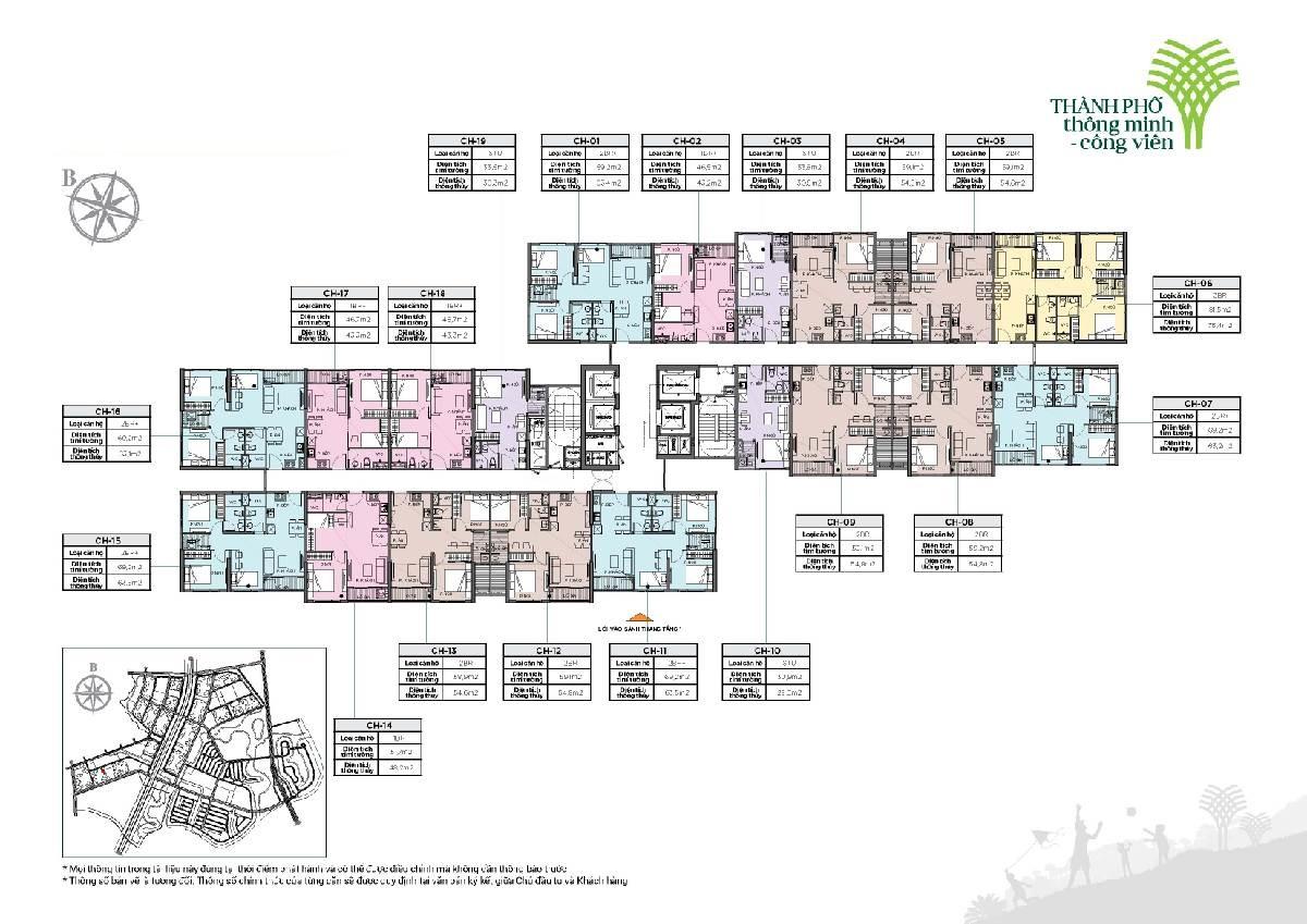 Mặt bằng Tòa R1.01 Vinhomes Grand Park quận 9 căn hộ Ruby