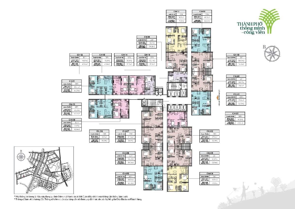 Mặt bằng Tòa R1.02 Vinhomes Grand Park quận 9 căn hộ Ruby