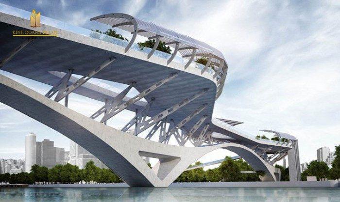 kiến trúc cầu đi bộ nối quận 1 với thủ thiêm