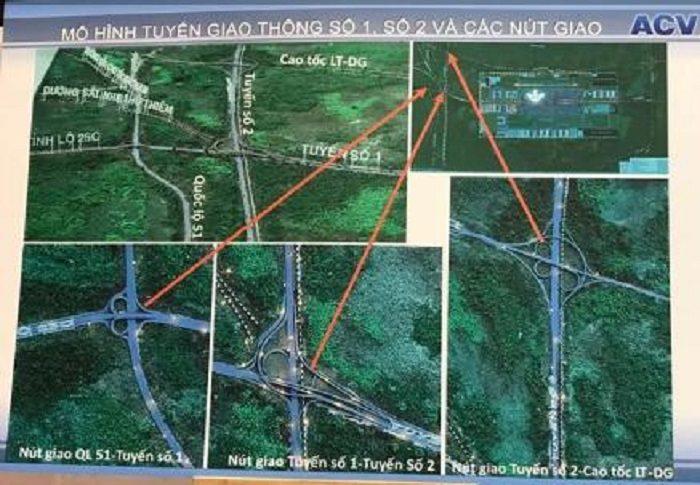 Mặt bằng vị trí xác định các tuyến đường nối với sân bay Long Thành
