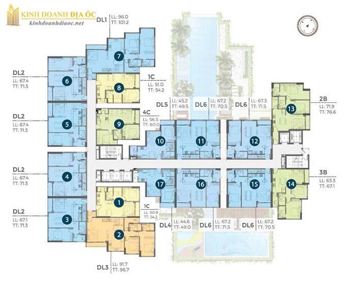 Căn hộ Precia quận 2 (mặt bằng tầng 22)