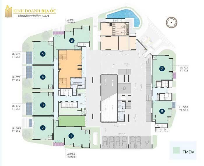 Mặt bằng căn hộ precia quận 2 tầng 1