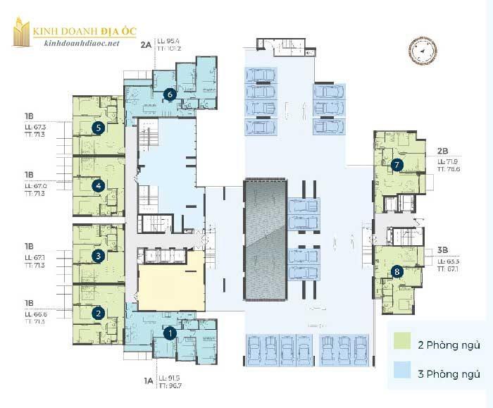 Mặt bằng căn hộ precia quận 2 tầng 2