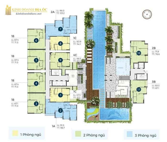 Mặt bằng căn hộ precia quận 2 tầng 4
