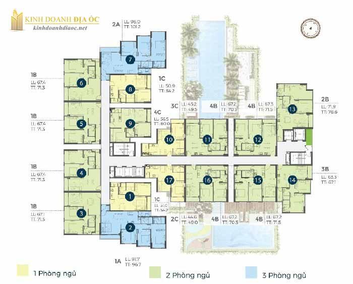 Mặt bằng căn hộ precia quận 2 tầng 6-9-12-15-18-21