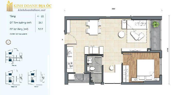 mặt bằng căn hộ 1PN 1C dự án precia q2