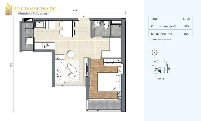 Mặt bằng căn hộ 1PN 2C dự án precia quận 2