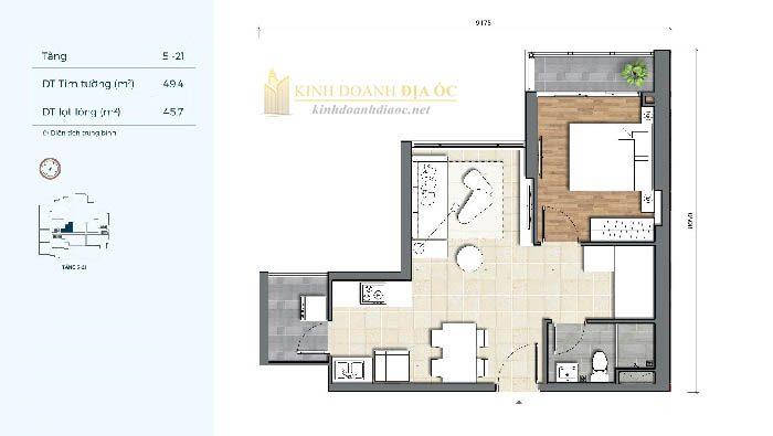Mặt bằng căn hộ 1PN 3C dự án precia quận 2