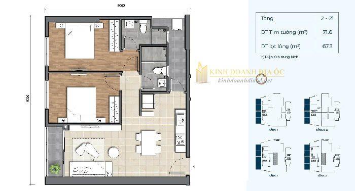 Mặt bằng căn hộ 2PN 1B dự án precia quận 2