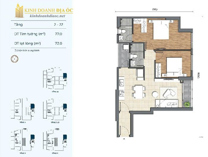 Mặt bằng căn hộ 2PN 2B dự án preica quận 2