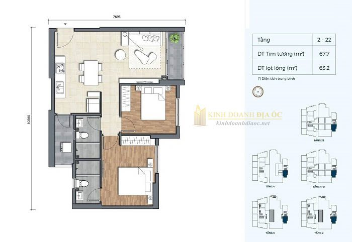 Mặt bằng căn hộ 2PN 3B dự án precia quận 2