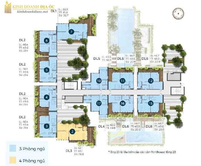 mặt bằng căn hộ precia quận 2 tầng 23