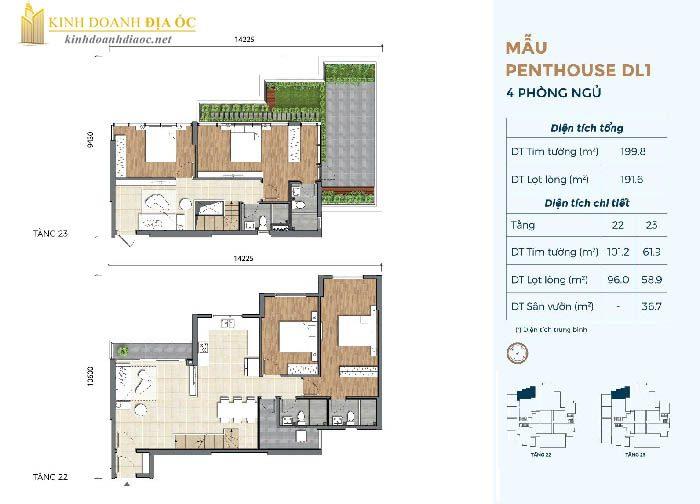 Mặt bằng penthouse DL1 dự án preica quận 2