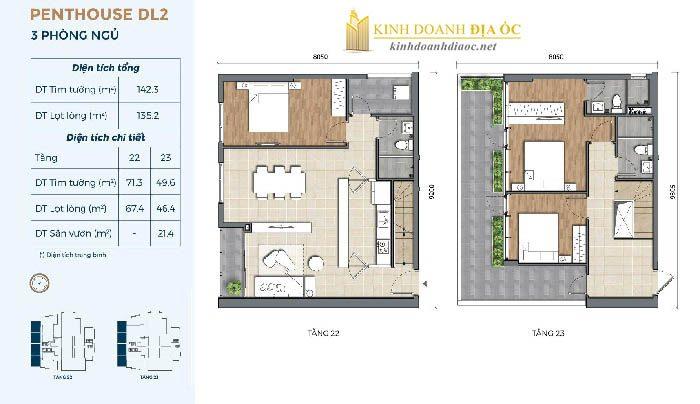 Mặt bằng penthouse DL2 dự án preica quận 2