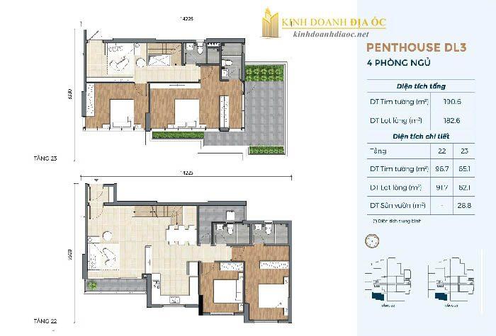 Mặt bằng penthouse DL3 dự án precia quận 2