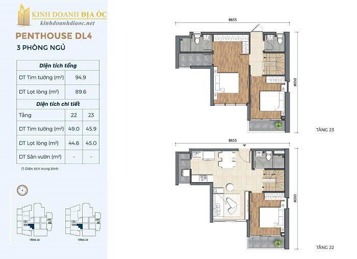Mặt bằng penthouse DL4 dụ án precia quân 2