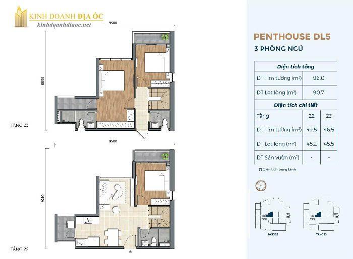 Mặt bằng penthouse DL5 dự án precia quận 2