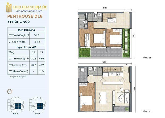 Mặt bằng penthouse DL6 dự án precia quận 2