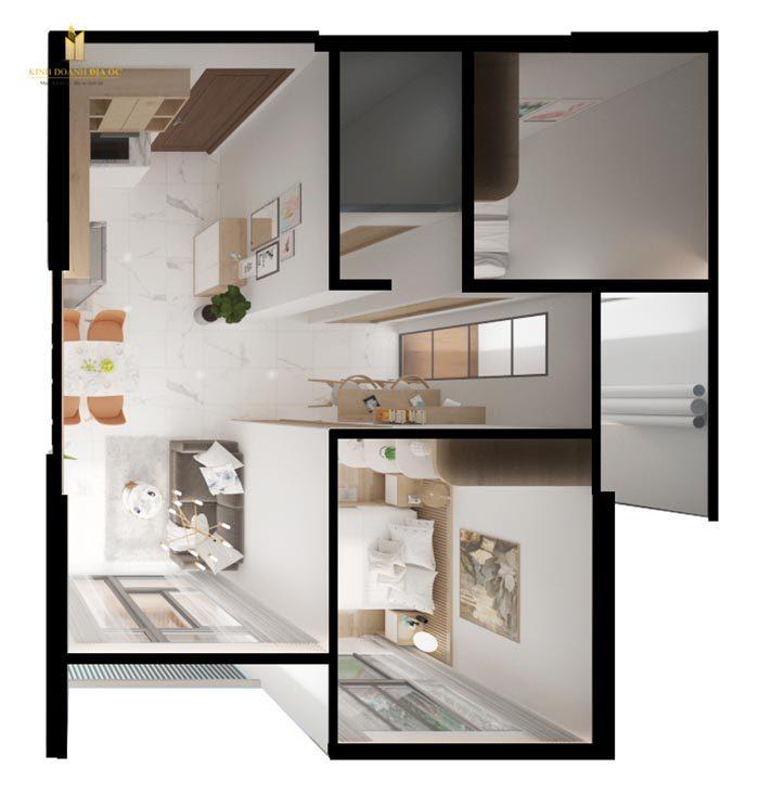layout căn hộ 2pn vinhomes quận 9