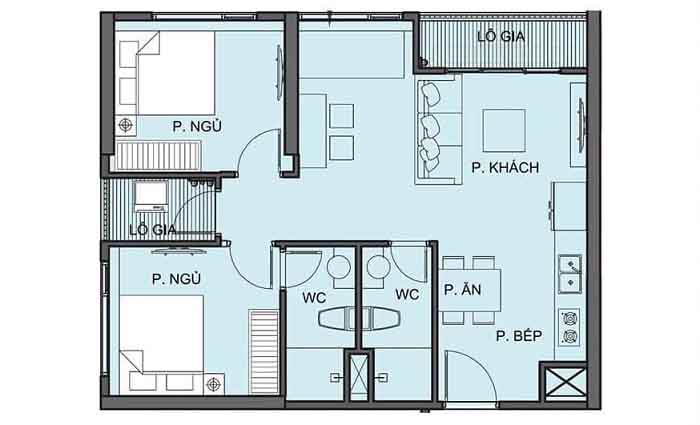 mặt bằng căn hộ 2 pn S5.02