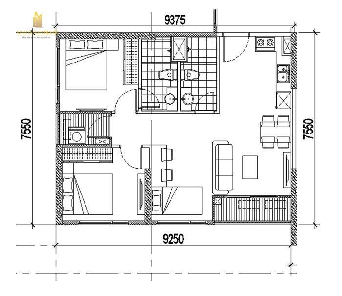 mặt bằng căn hộ 2pn+1 vinhomes quận 9