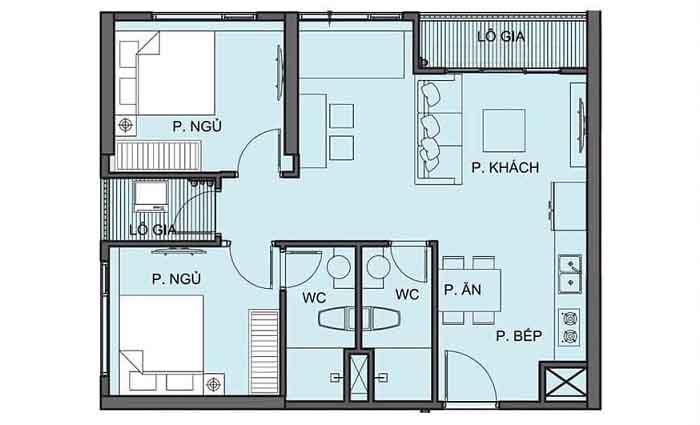 mặt bằng căn hộ S2.03