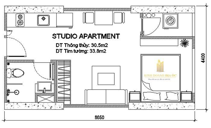 mặt bằng căn hộ studio 30 m2